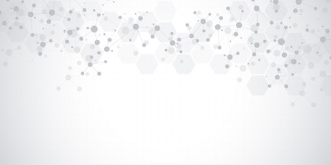 Abstract molecules on soft grey background. Molecular structures or DNA strand, neural network, genetic engineering. Scientific and technological concept. Wall mural