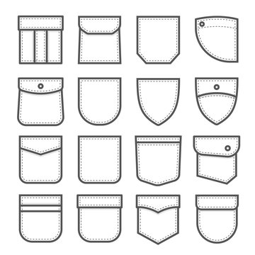 Patch pocket set, fabric and cloth element