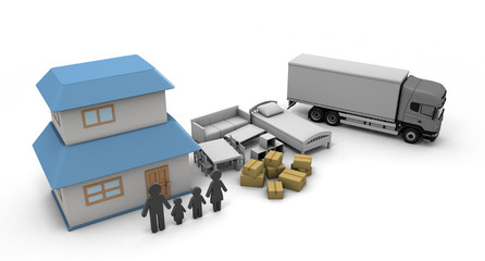 Moving Home purchase New Residence 3D illustration