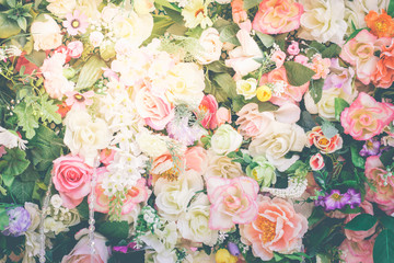 Wall Murals Floral bouquet of roses background