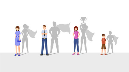 Best leaders flat vector illustration. Happy people with superhero shadow, cheerful man, women and kid cartoon characters. Ambitious, strong, courageous people, superheroes with cape Wall mural