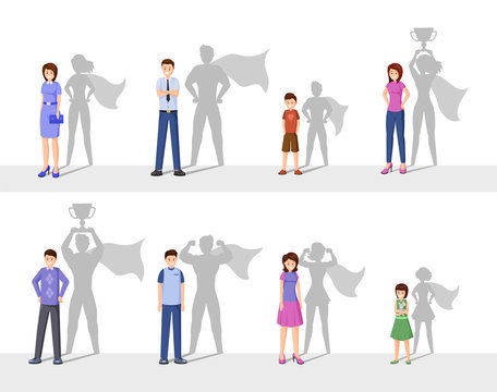 Leadership flat vector illustration. Happy people with superhero shadow, confident men, women and kids cartoon characters. Symbol of ambition, courage, success and motivation