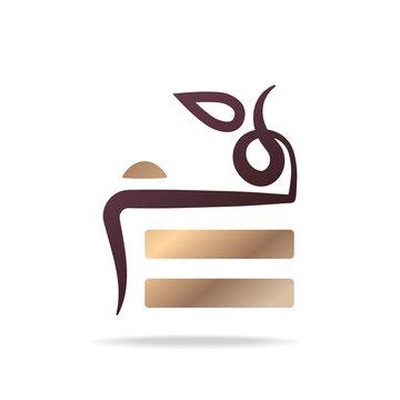 Luxury cake logo design. Vector image.