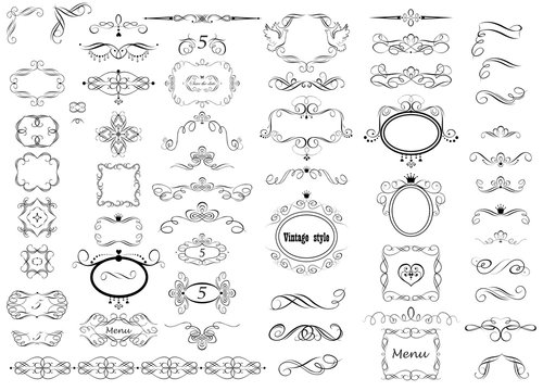 Set of vintage calligraphic frames, titles and headers for wedding and heraldic design, fashion labels, ceremony, menu card, restaurant, cafe, hotel, jewellery store, logo templates, monogram