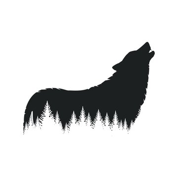 Forest wolf silhouette
