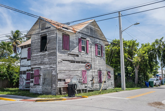 Miami, USA -July 5, 2019: Colorful and abandoned house