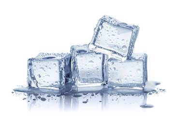 Ice cubes, isolated on white background Wall mural