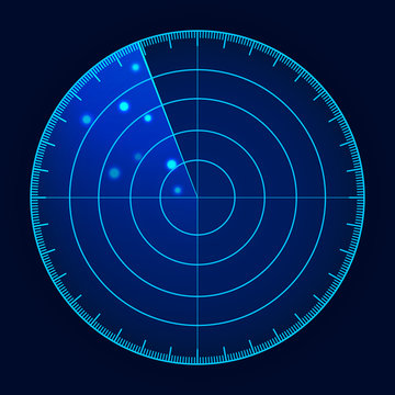 Vector blue radar screen. Military search system. Futuristic HUD radar display. Futuristic HUD interface.