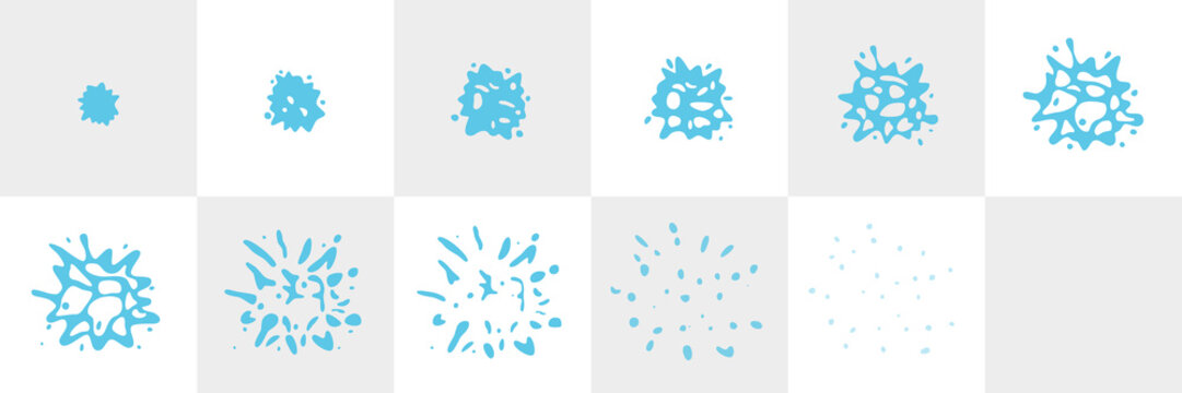Water Splash Sequence Animation Sprite Sheet. Vector splash frames isolated background. Top view.