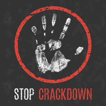 Vector illustration. Social problems of humanity. Stop crackdown