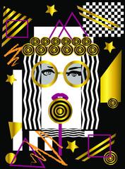Sztuka, abstrakcyjne tło z dziewczyną jedzącą loli pop
