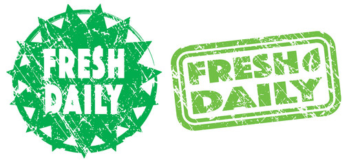 Fresh Daily stamps in green and bright green colors. Grunge texture. Vector illustration.