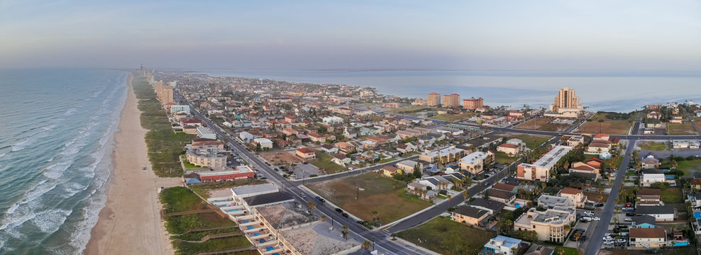 Wide Panoramic View of South Padre Island  During Sunrise