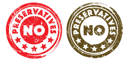 No Preservatives stamps in red and brown colors. Grunge texture. Vector illustration.