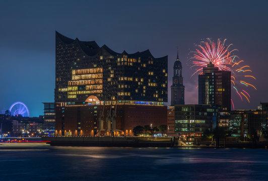 Hamburg Germany Panorama of the Harbor with fireworks