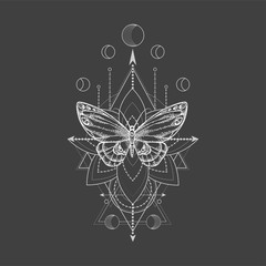Vector illustration with hand drawn butterfly and Sacred geometric symbol on black background. Abstract mystic sign.