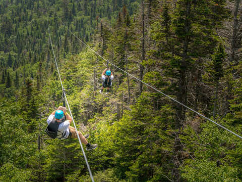 ziplining down a mountain in stowe vermont