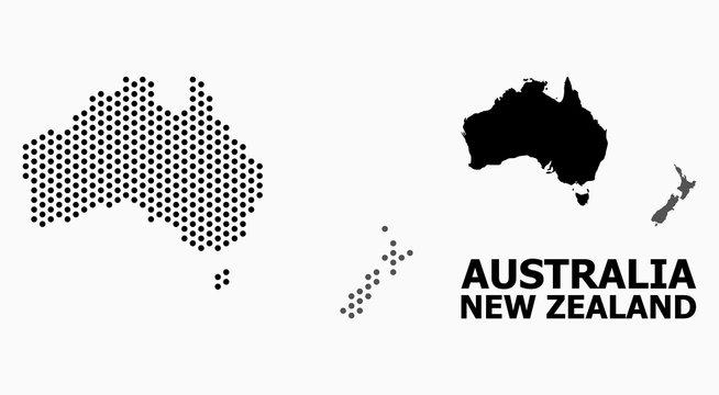 Dot Pattern Map of Australia and New Zealand