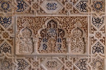 alhambra, allah, ancient, andalucia, andalusia, antique, arabic, architecture, art, background, brown, calligraphy, closeup, culture, decor, decoration, decorative, design, detail, famous, floral, flo