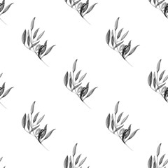 Watercolor monochrome olive branch seamless pattern on white background.