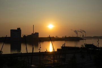View of the shore at sunrise from Allborg water front west side