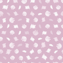 Vector pink and white repeat pattern with seashells. Romantic theme. Suitable for gift wrap, textile and wallpaper.