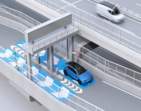 Blue SUV passing through toll gate without stop by ETC (Electronic Toll Collection System). 3D rendering image.