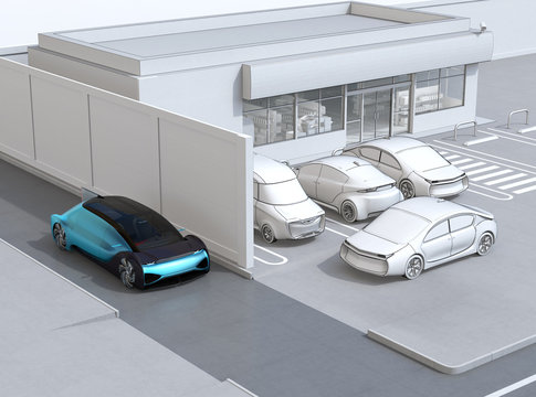 Blue sedan passing a wall beyond convenience store. A white car leaving parking lot. Line rendering style. 3D rendering image.