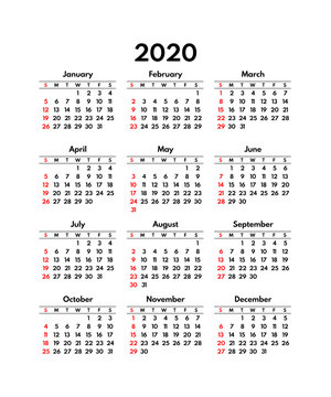 simple 2020 usa calendar grid, starts sunday
