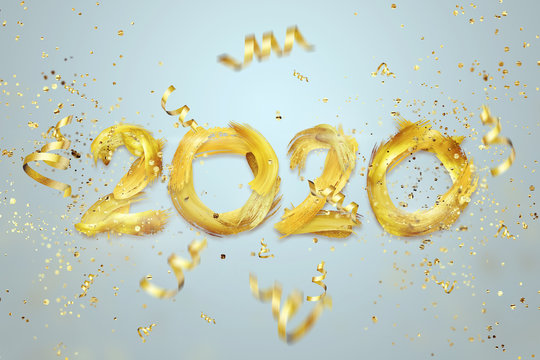 Creative background, numbers 2020 consisting of brush strokes in gold paint on a light background. Happy new year, year of the rat