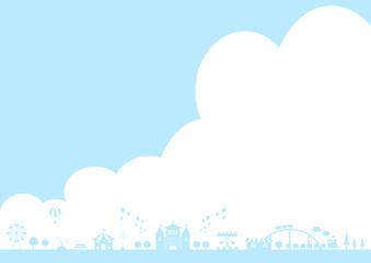 テーマパーク 青空 雲