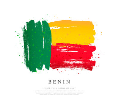 Flag of Benin.  Brush strokes are drawn by hand. Independence Day.