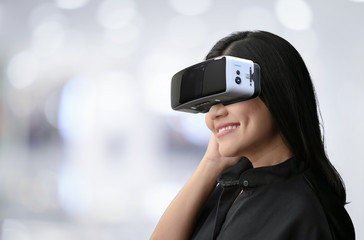 Woman enjoy vr headset