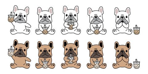 dog vector french bulldog icon Boba tea bubble milk tea cartoon character symbol illustration doodle design