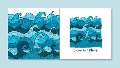 Fotobehang - Book cover design. Sea waves background
