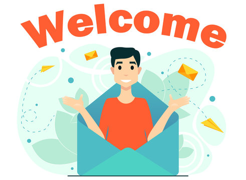 concept welcome subscription email newsletter man from letters mail