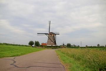 Windmill of the Molenviergang Zevenhuizen in the Netherlands to keep the Tweemanspolder on the correct water level