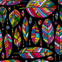 Art feathers collection, seamless pattern for your design