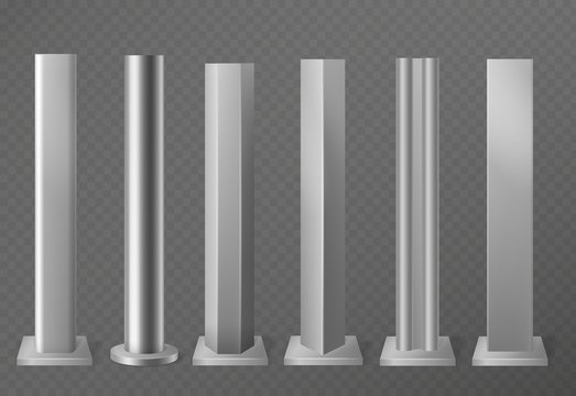 Metal poles. Metalic pillars for urban advertising sign and billboard. Polish steel columns in different section shapes 3d vector set