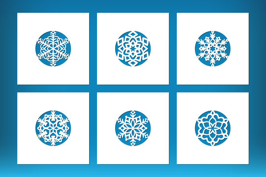 Laser cut Christmas card set with snoflake in the middle. Xmas template for cutting collection, vector.