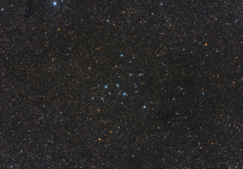 Closeup of Messier 39 open cluster in Cygnus constellation, with huge amount of stars as background in the deep space.