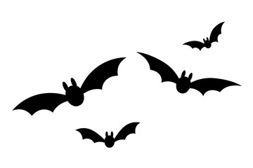 Bats icon set. Bat black silhouette with wings isolated white background. Symbol Halloween holiday, mystery cartoon dark vampire, night flyin element. Spooky scary flat design. Vector illustration Wall mural