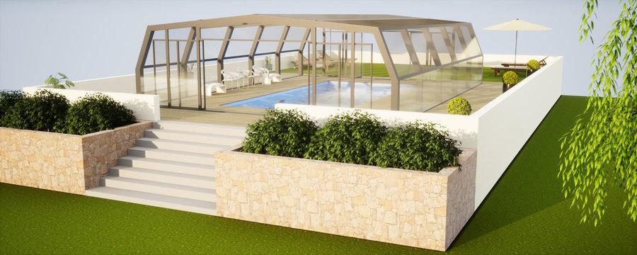 vue 3d piscine couverte