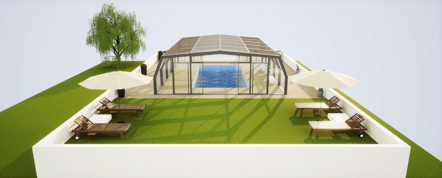 vue 3d abri de piscine et terrasse bois