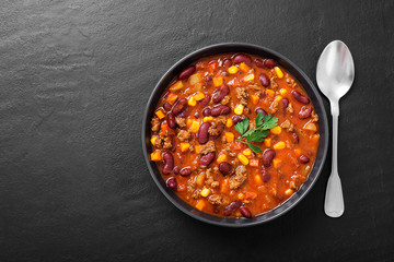 Canvas Prints Hot chili peppers Traditional mexican dish chili con carne with minced meat and red beans.