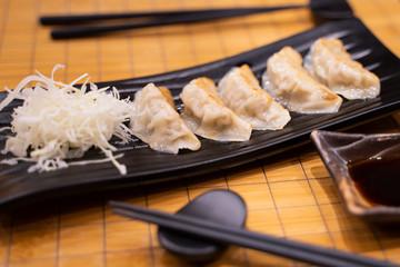 Fried Gyoza with sliced cabbage Japanese style