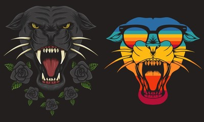 Panther cool Retro vector illustration