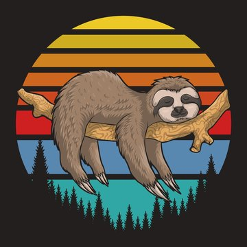 lazzy Sloth Retro sunset vector illustration