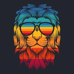 lion cool retro eyeglasses vector illustration
