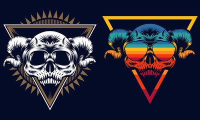 Skull evil retro vector illustration